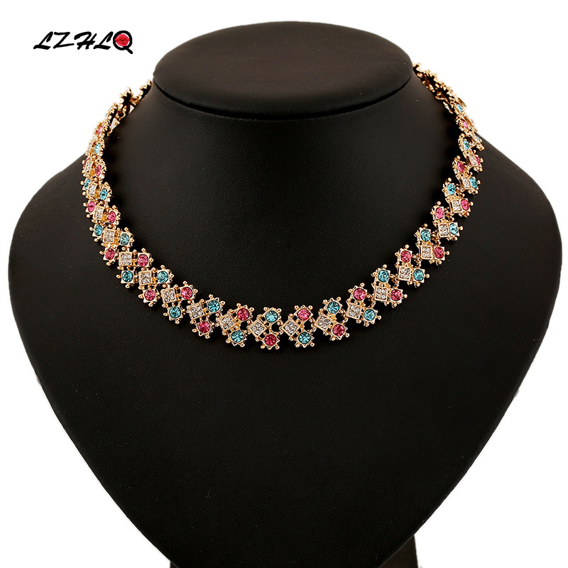 LZHLQ Brand Women Cute Crystal Choker Necklaces Vintage Coloured Rhinestone Torques Fashion Metal Hollow Clavicle Chain Jewelry