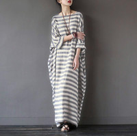 Women Elegant Striped Print Dress 2016 Spring ZANZEA Casual Loose O Neck Batwing Sleeve Maxi Long