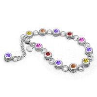 Fashion Brand Woman Bracelet Solid 925 Sterling Silver Crystal Charm Women / Girl Beads Bracelets & Bangles Luxury Jewelry Gifts