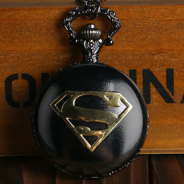 Cool Superman Pocket Watch Glossy Black Steel Case Slim Necklace Marvel Superher