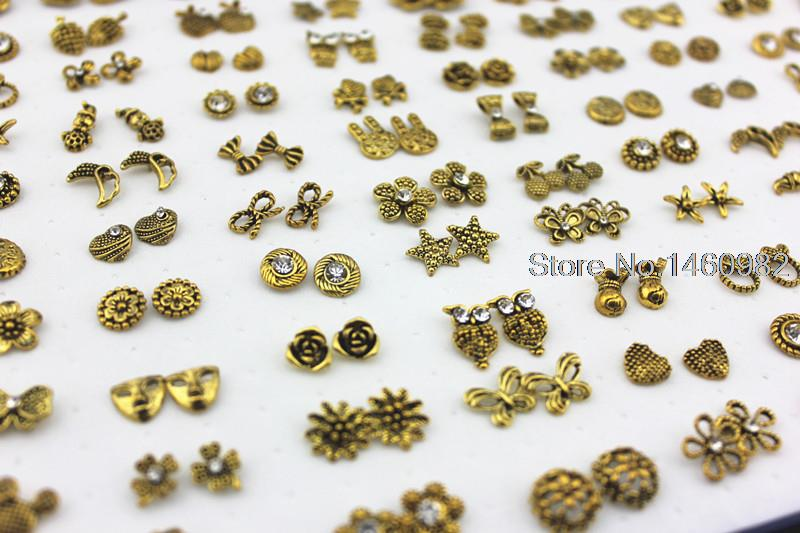 100 pairs Mixed Design Antique Gold color Owl Flower Heart Crystal