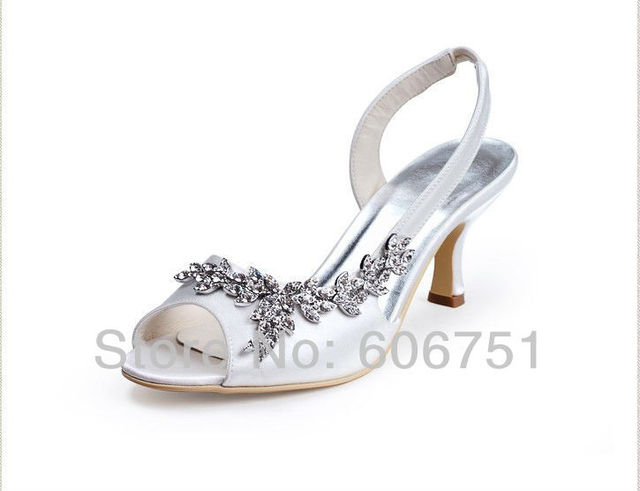 4d6b009d33d White ivory satin custom wedding bridal sandals with rhinestone crystal  women medium heel slingback shoes plus size 33-45