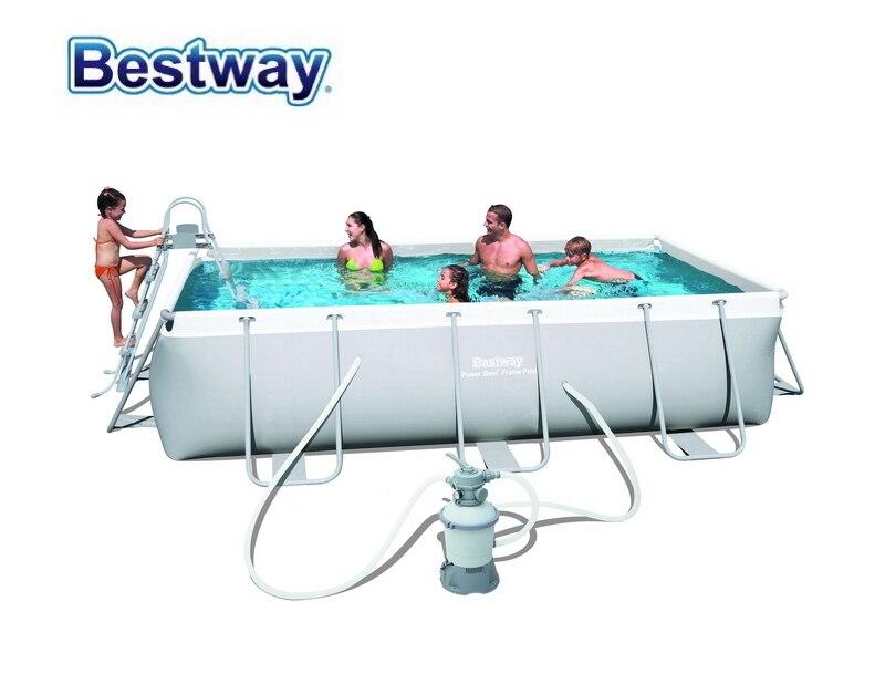56442 Bestway 404*201*100 cm Rectangulaire Super Forte Acier Cadrage Tube Piscine Piscine Hors Sol avec Filtre À sable Échelle