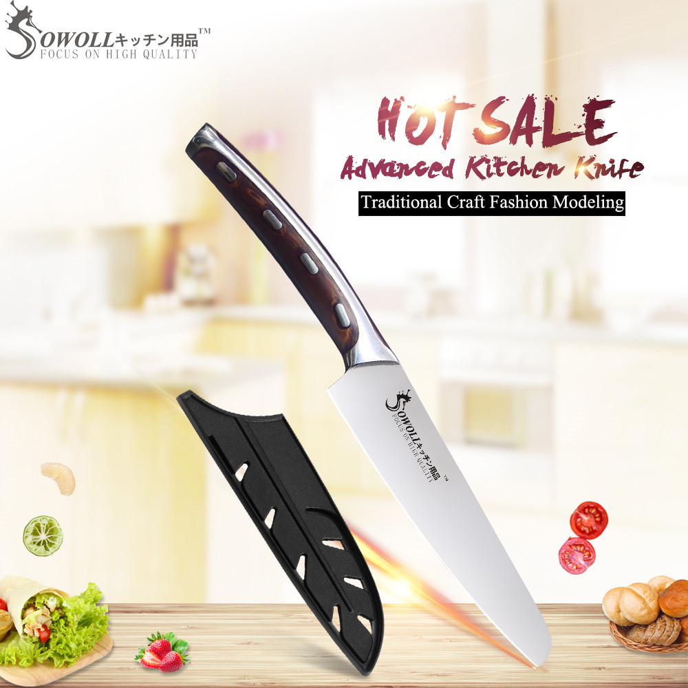 SOWOLL Kitchen Knife Stainless-Steel Very-Sharp Knife-Cutter-Tools Fibre-Handle Utility
