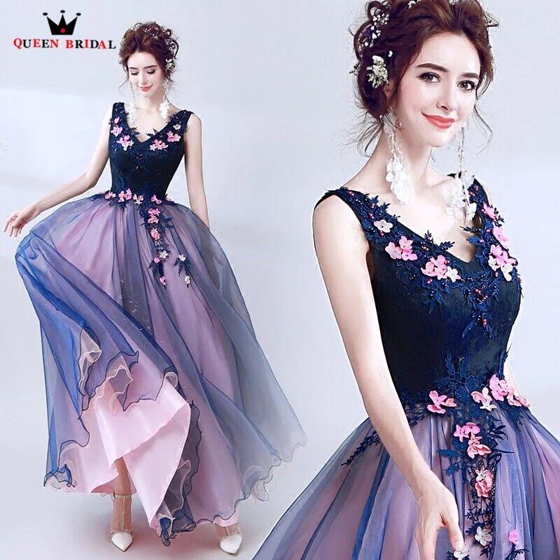 QUEEN BRIDAL Long   Evening     Dresses   A-line V-neck Beading Lace Flowers Prom Party   Dresses     Evening   Gowns Vestido De Festa LS55N