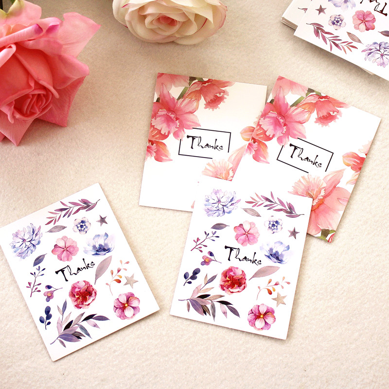 Us 9 88 20 Off Diy Blank Graffiti Word Card Flower Design Thank You Greeting Card Small Mini Card Message Card 100pcs In Cards Invitations From