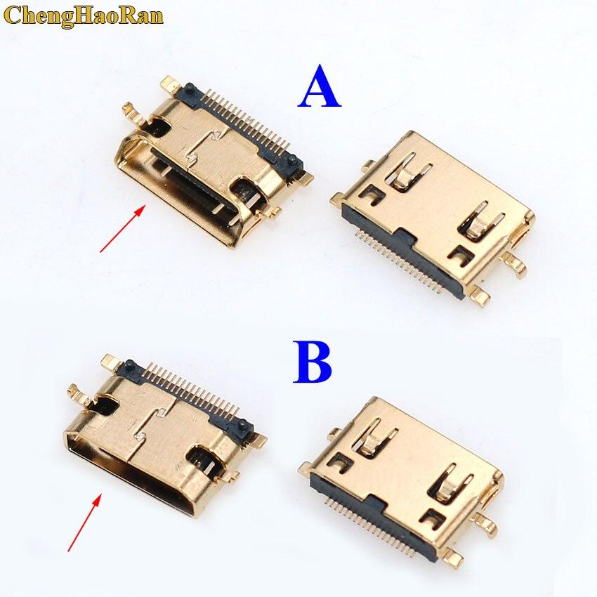 ChengHaoRan 1pcs 19Pin C Type Sinking plates 0.8mm SMT+DIP foot Gold plating MINI HDMI Female Socket