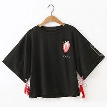 Japanese Harajuku Kawaii T Shirt Women Korean Gothic Cute Strawberry White Tees Female Crop Top Vintage Black Casual Tshirt 2020