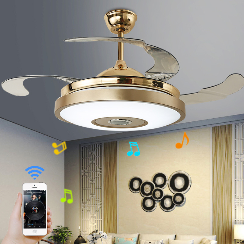 LED Modern Alloy Acryl ABS Bluetooth Music Ceiling Fan LED Lamp Remote Control RGB Dimmable Gold Light For Foyer Living Bedroom|Ceiling Fans| |  - title=
