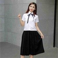 High Quality College Style Sailor Uniforms White Shirt Long Skirt Elegant Class Student Teenage Girls Uniform