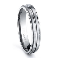 4mm Solid Titanium Women Wedding Band Ring Brushed Double Stripe Center High Polished Edge Comes with Free Gift Bag Ti013RW