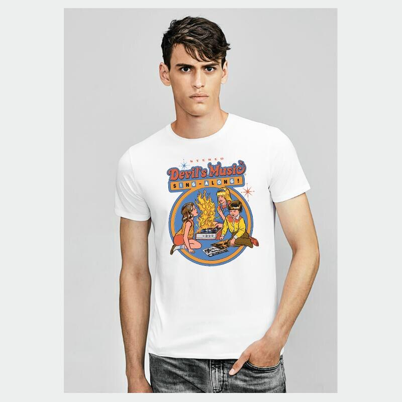 2018 Funny Style Satan Devil Printed Men Vintage White   T     shirts   Summer Short Sleeved Modal Tops Tees Harajuku   T     shirt   Men Brand