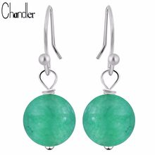 Chandler Round Red Green Loose Stone Bead Dangling Earring Piercing Chalcedony Vintage India Jewelry Bohemia Statement Pendiente(China)