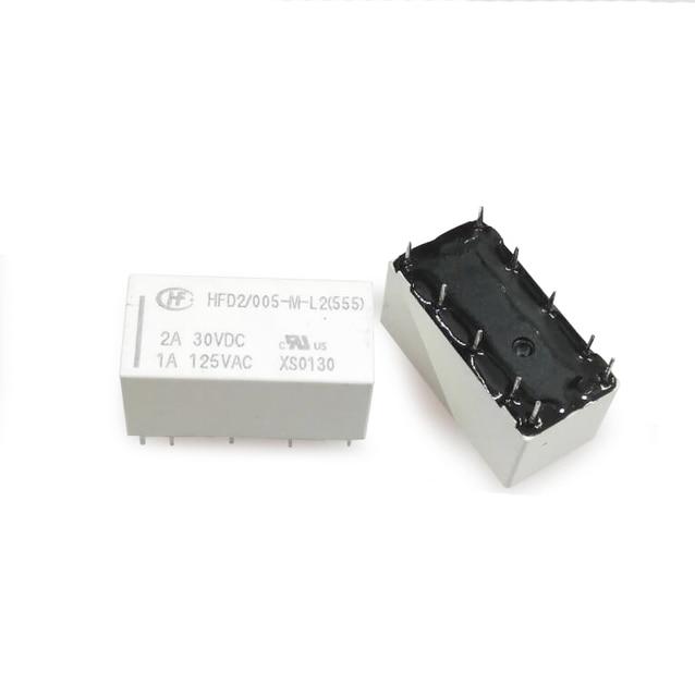 20pcs/lot Relay HFD2 005 ML2 D HFD2/005 M L2 D Latching Relay Double coil 5V