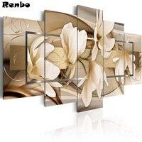 5D DIY Photo Custom Diamond Painting Magnolia flower,Make Your Own Diamond Painting Full Drill Rhinestone Embroidery 5pcs