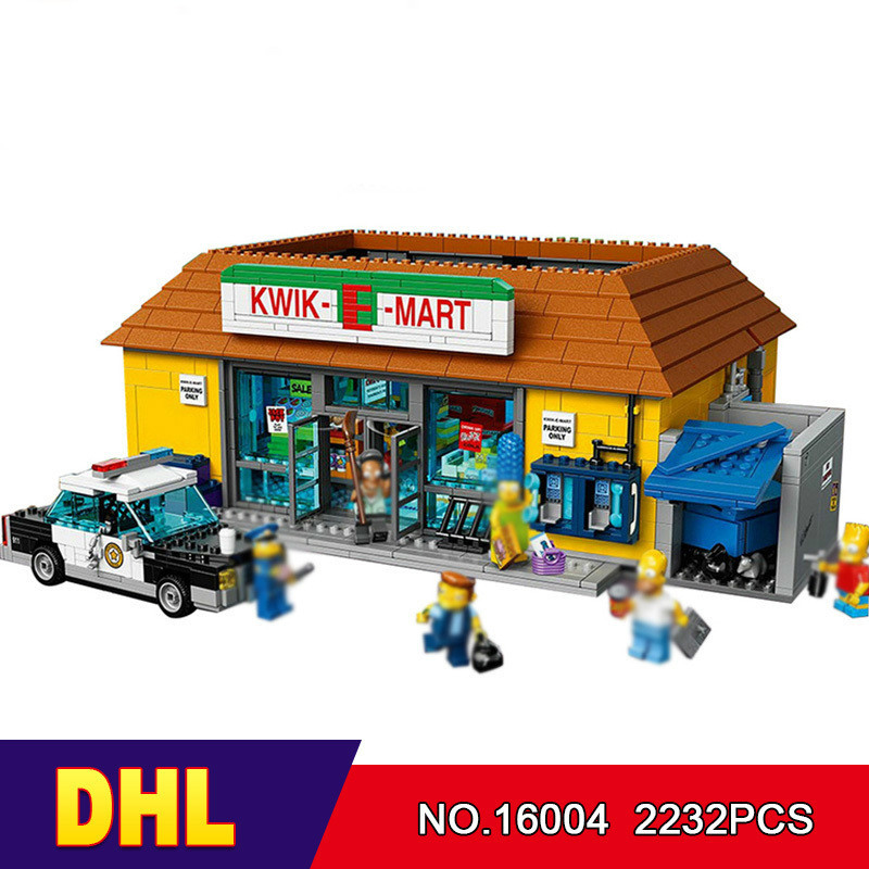 DHL LEPIN 16004 2232Pcs the Simpsons KWIK-E-MART Action Model Building Block Bricks Compatible 71016 конструктор lepin creators simpsons магазин на скорую руку 2220 дет 16004