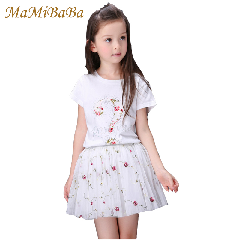 Baby Girls Clothing Sets 2018 New Summer Solid Short Sleeves Pullover T-shirt + Mini Skirts 2piece Skirt Suits Kid Clothes Cs378 2016 spring girls clothes girls clothing sets new arrival female child flower print o neck pullover short skirt set baby twinset