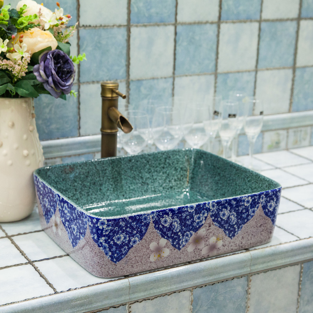 Qi bathroom above counter basin ceramic bathroom vanity bathroom sink basin art basin blue and white glass LO6201107