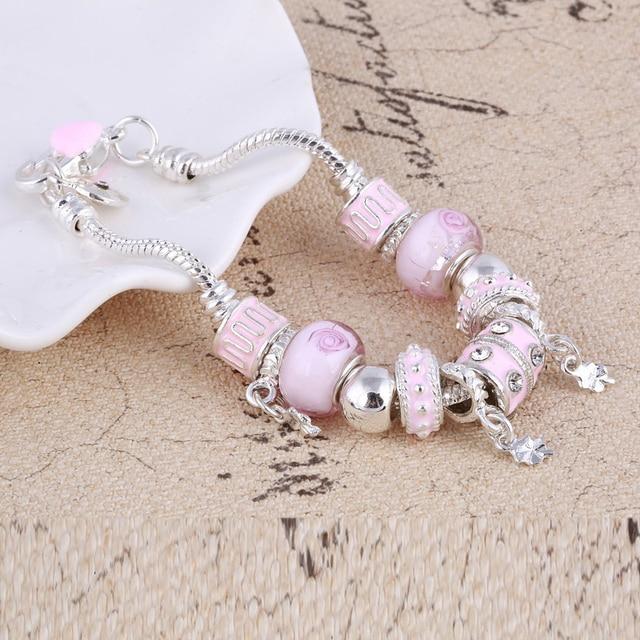Pink Crystal Charm Silver Bracelets & Bangles for Women  Beads Silver Bracelet Femme Jewelry 3