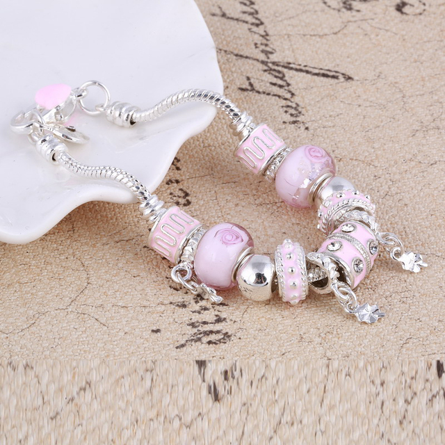 ZOSHI Pink Crystal Charm Silver Bracelets & Bangles for Women With Aliexpress Murano Beads Silver Bracelet Femme Jewelry 3