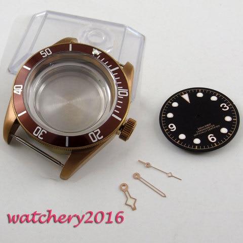 Caixa do Relógio de Cristal de Safira Café + Mostrador Preto + Mãos Encaixam 821a 2836 Movimento 41mm se 8205 8215