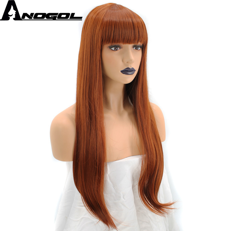 Anogol Orange Auburn Red High Temperature Fiber Natural Long Straight Synthetic Wig For Ladies Girls Women With Flat Bang Fringe