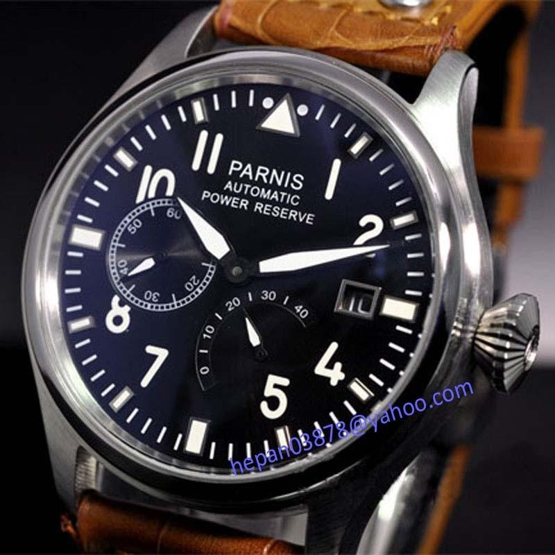 Parnis watch 47mm date adjust black dial Black and Brown ...