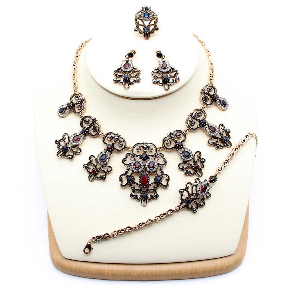Exquisite Bohemian Flower Resin Jewelry Sets For Women Earring <font><b>Ring</b></font> <font><b>Bracelet</b></font> Necklace Retro Gold Color Rhinestone <font><b>Indian</b></font> Jewelry image