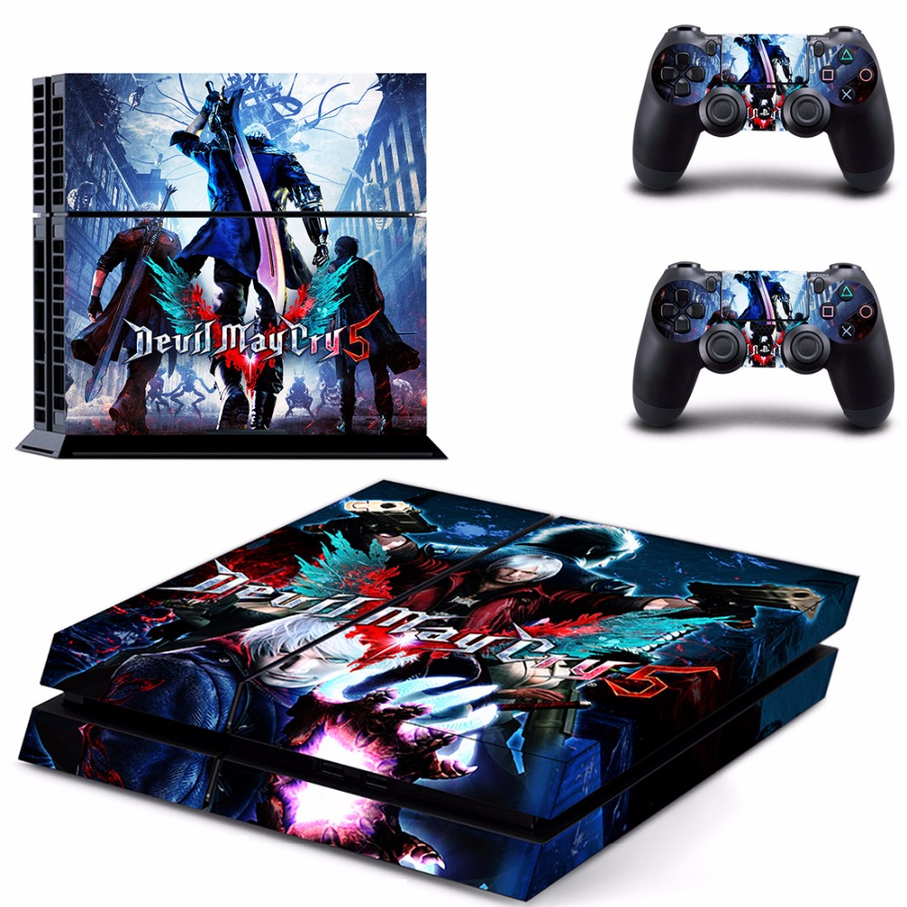 PS4 Skin Sticker For PlayStation 4 Console and 2 Controllers PS4 Skin Sticker Vinyl Decal - Game Devil May Cry 5