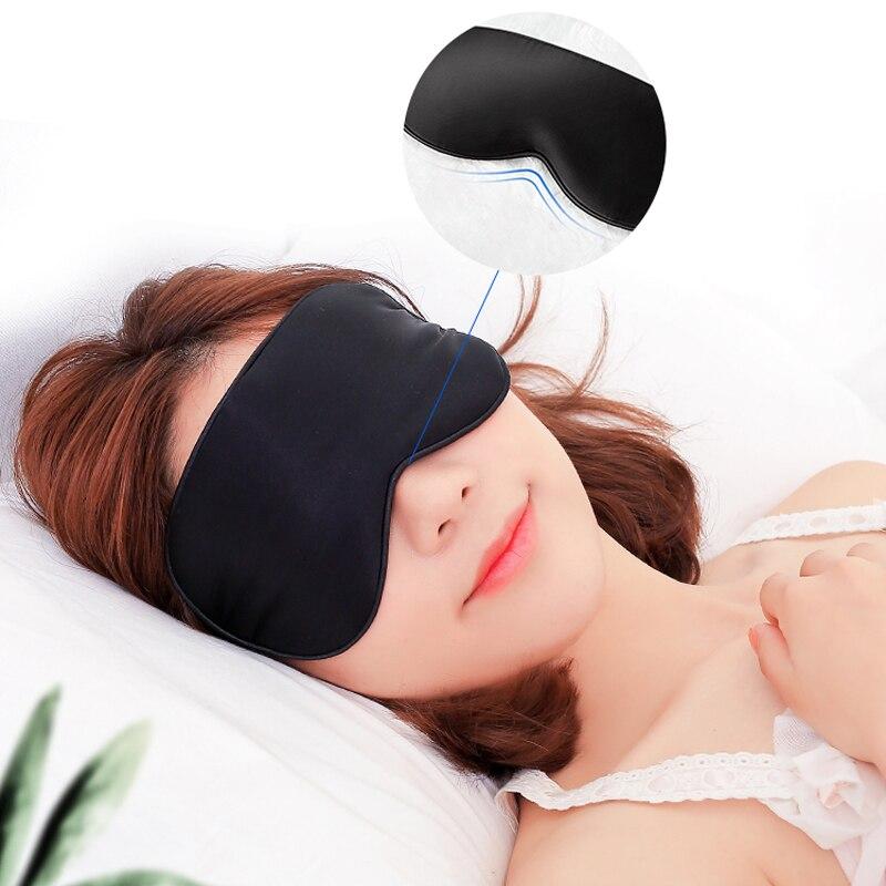 Artificial Silk Sleep Eyeshade Imitated Silk Eye Mask Earplug For Good Sleep Breathable With Storage Bag
