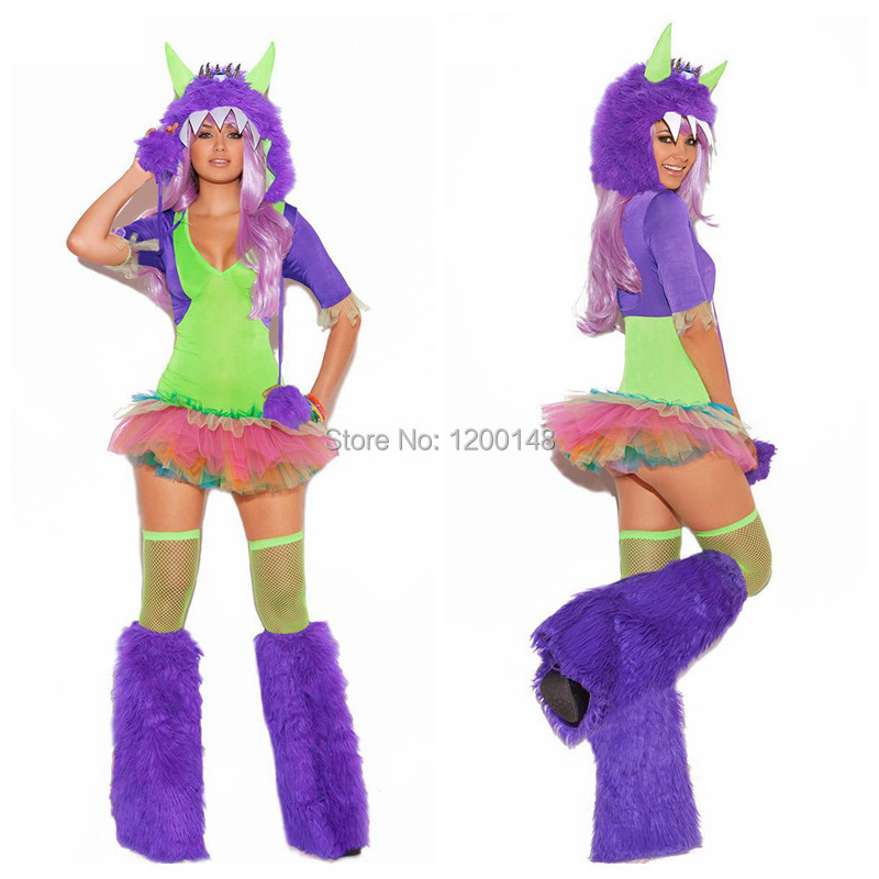 free shipping halloween costume night bar rave clothes fitted hairy monster devil animal role play - Raving Rabbids Halloween Costume