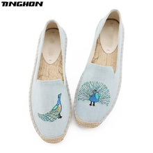 TINGHON Fashion Women Ladies Espadrille Shoes Canvas Embroidery Peacock Rome Ankle Strap Hemps Fisherman Flats