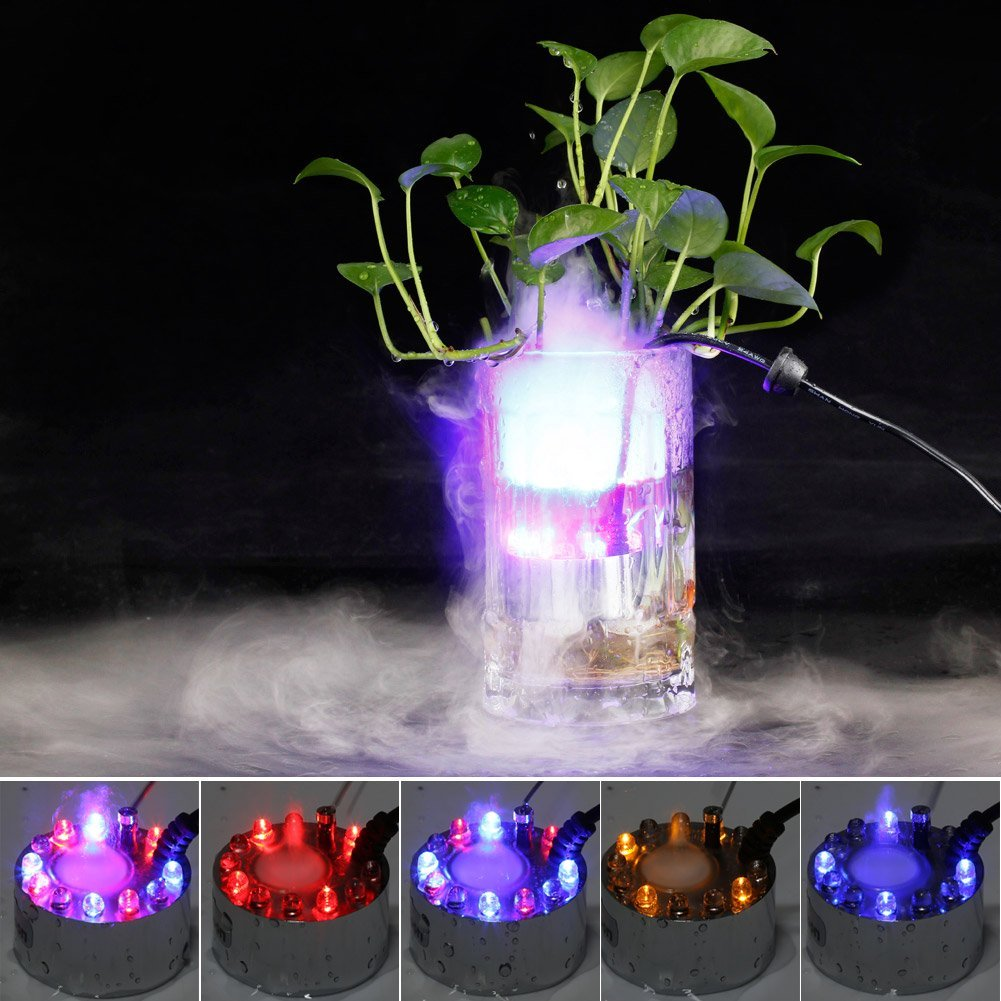 Top Sale 12 LED Fountain Mist Maker Light Mister Foggers with AC Adapter Automatically Color Pattern Changes (White)