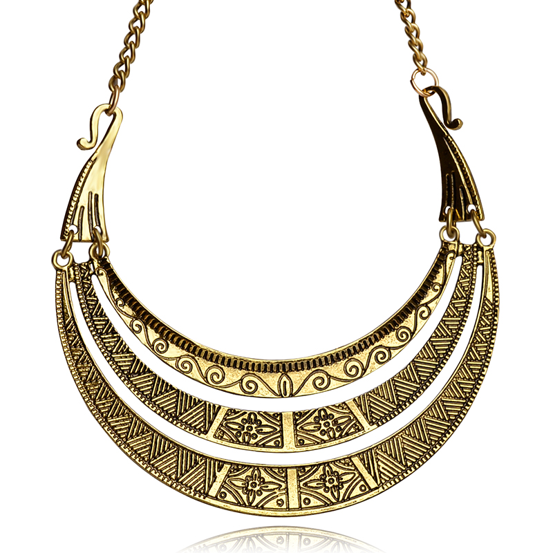 Vintage Bohemian Europe Necklace Golden Plating Women 3 layer Ethnic Style necklace mothers day gift