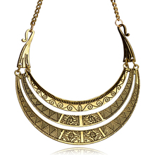 цены на Vintage Bohemian Europe Necklace Golden Plating Women Necklace 3 layer Ethnic Style necklace mother's day gift  в интернет-магазинах