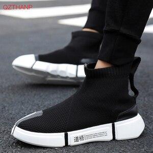 Image 3 - 2018 homens tênis casuais sapatos deslizamento em tenis masculino adulto meias calçado tecer malha respirável estilo masculino adulto leve