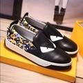 2016 Black Blue Top Layer Leather Rivet Monster Eye Sets Foot Casual Fashion Flat Men's Shoe 38-45
