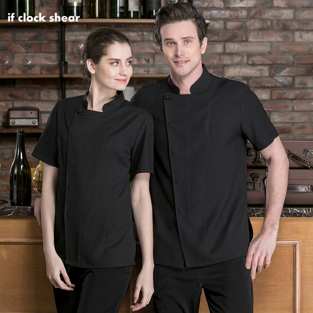 IF Food Service Cooker Coat Short Sleeved Shirt Restaurant Hotel Kitchen Chef Uniform Catering Chef Jackets New Work Clothes Men