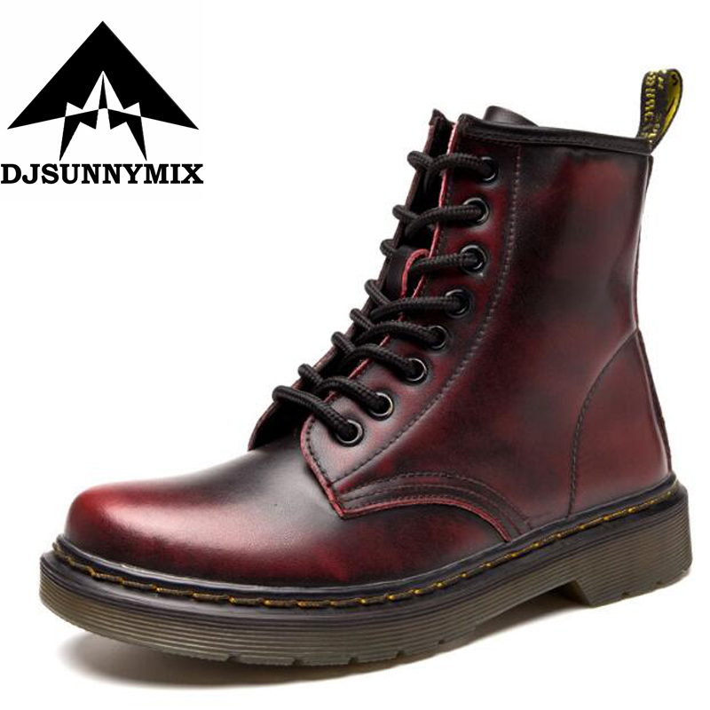DJSUNNYMIX New England Style ankle boots for women autumn winter genuine leather women's leather boots unisex plus Size 35-46 new england textiles in the nineteenth century – profits