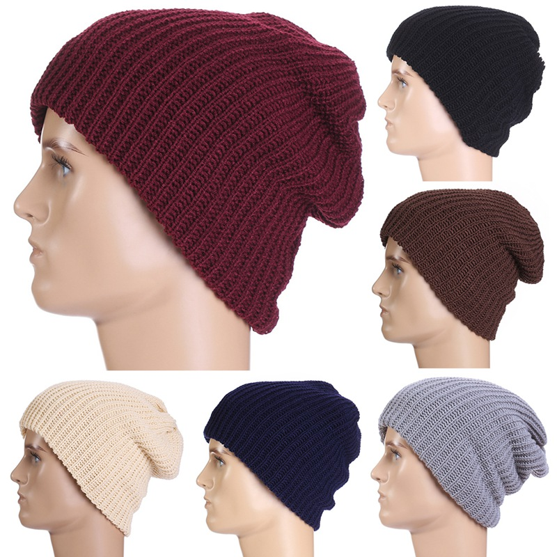 Unisex Chic Men Women Warm Winter Knit Beanie Skull Slouchy Oversize Cap Hat