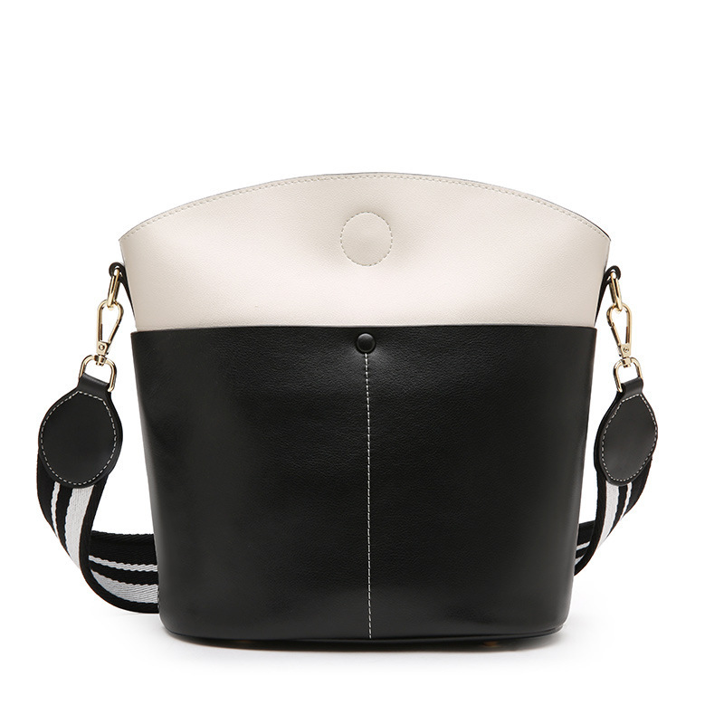 Korean Bucket Package Cowhide Concise Hit Color Luxury Handbags Shoulder Bag Women Famous Brands Crossbody Bags For Designer New concise nylon and solid color design crossbody bag for women