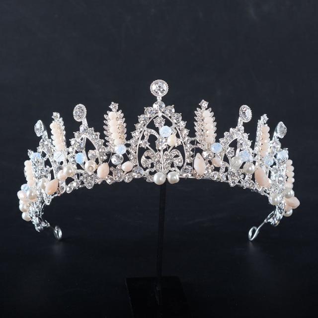 Online shop handmade vintage pearl beads quinceanera crowns handmade vintage pearl beads quinceanera crowns crystal rhinestone wedding crown and tiara for bride hair accessories jewelry junglespirit Gallery