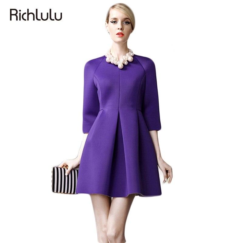 RichLuLu 2 Colors Sexy Elegant Dress Vestidos Women Empire Dress A line Three Quarter Sleeve Solid