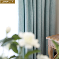 CITYINCITY Solid Modern Home Decor Curtain Faux Linen Plain Curtains Darpe For Bedroom Livingroom Rideaux Window