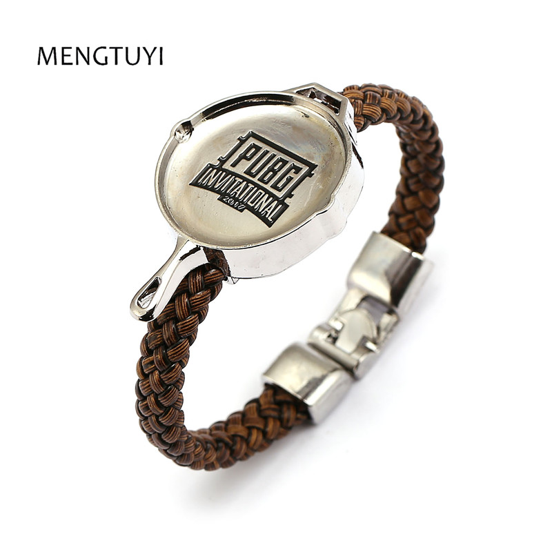 Mengtuyi 12pcs/lot Men Bracelet frying pan charm Punk bracelet braid Leather Bangle men Game pubg souvenir pulseira masculina