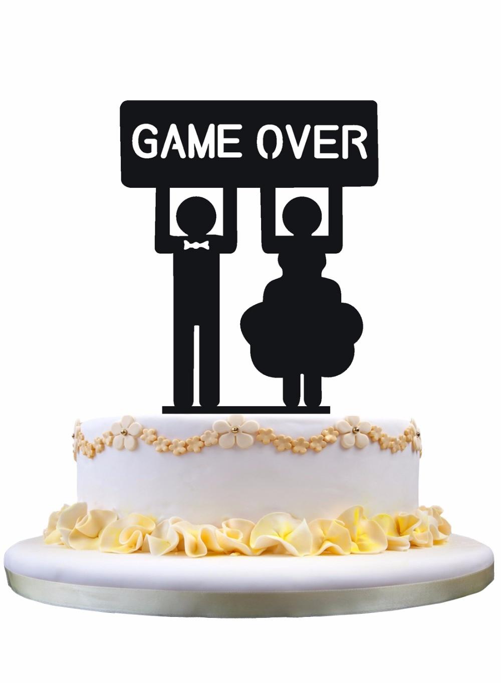 Meijiafei Bride and Groom GAME OVER Wedding Custom Cake Topper-in ...