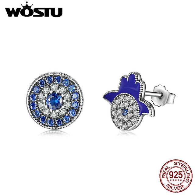 127086335 WOSTU New 925 Sterling Silver Samsara & Khamsa Stud Earrings For Women Blue  CZ Authentic Original Jewelry Fashion Gift CQE042
