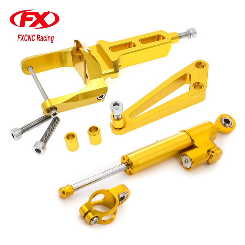 FXCNC Aluminum Adjustable Motorcycles Steering Stabilize Damper Bracket Mount Kit For HONDA CB1300 2003-2011 04 05 06 07 08 09 adjustable steering stabilize damper bracket mount kit for honda cbr1000 2008 2014 t6061 t6 aluminum a set cnc fxcnc gold