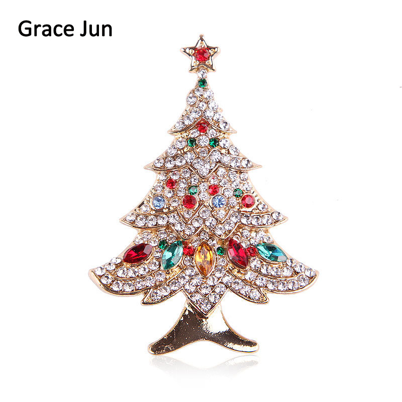 Hot Sale Vintage Full Rhinestone Christmas Tree Brooches for Women Party Wedding Luxury Scarf Hijab Hat Pins Brooches Xmas Gift