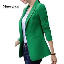 Fashion blazer women work wear autumn long sleeve one-button notched collar plus size green pink white black color blaser female